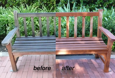 Bench restored to its natural luster
